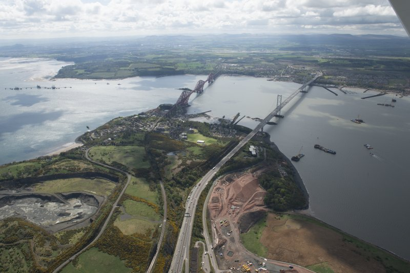 General oblique aerial view of the River Forth centred on the Forth Road Bridge, looking to the S.