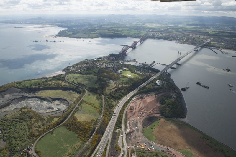 General oblique aerial view of the River Forth centred on the Forth Road Bridge, looking to the SSE.