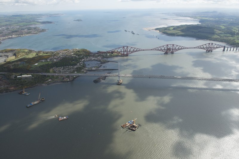 General oblique aerial view of the River Forth centred on the Forth Road Bridge, looking to the E.