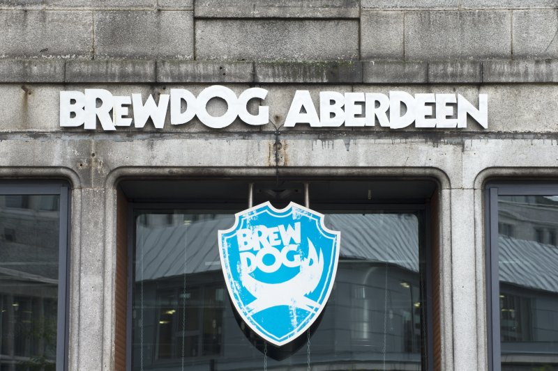 Detail of Brewdog signage above door