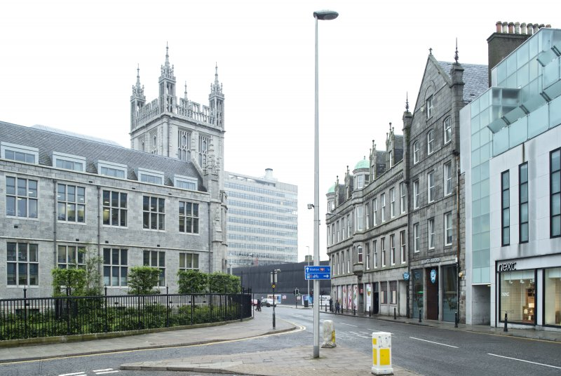 View from north showing Brewdog Bar in relation to Marischal College and St. Nicholas House