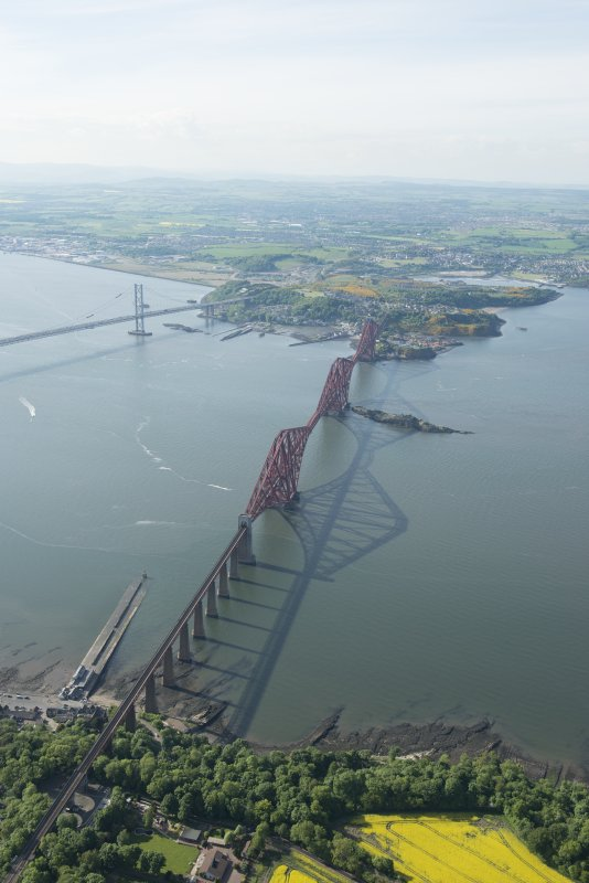 Oblique aerial view of Forth Bridge, looking to the E.
