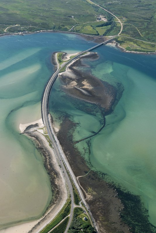 Oblique aerial view of Kyle of Tongue Bridge and the causeway, looking to the W.
