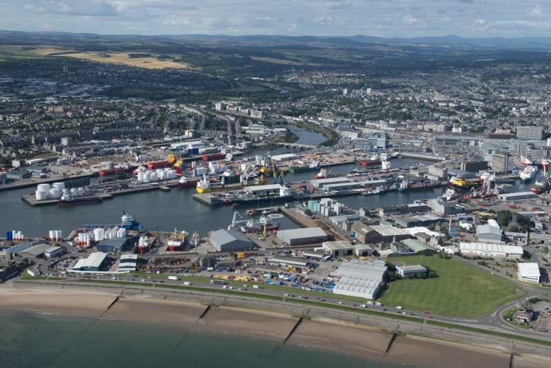 Oblique aerial view of Aberdeen harbour, looking WSW.