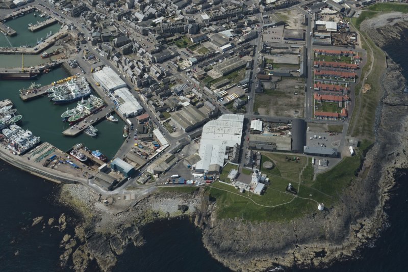 Oblique aerial view of Kinnaird Lighthouse and New Lighthouse, looking SW.