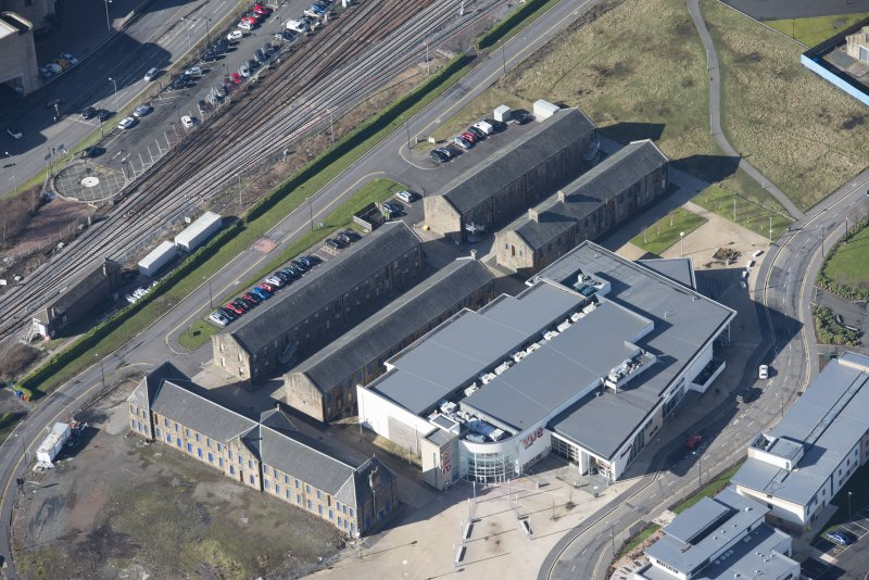 Oblique aerial view of The Barracks, looking W.
