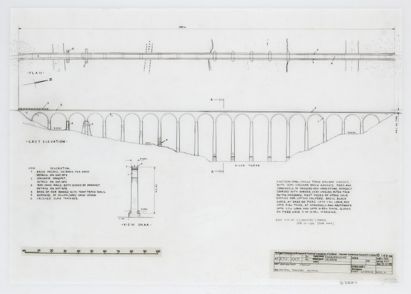 Plan, East Elevation with item list and brief description d:'9/12/1989'