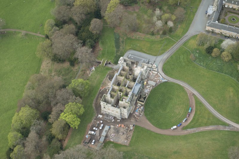 Oblique aerial view of Penicuik House, looking WNW.