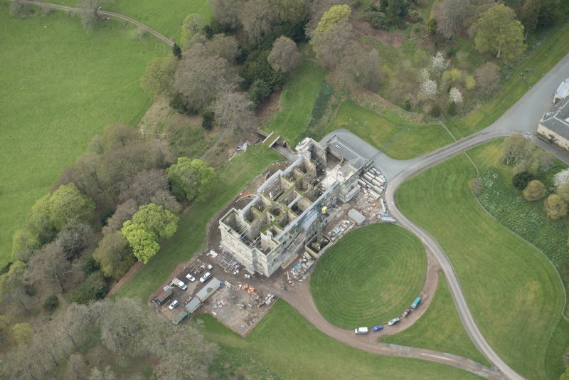 Oblique aerial view of Penicuik House, looking W.