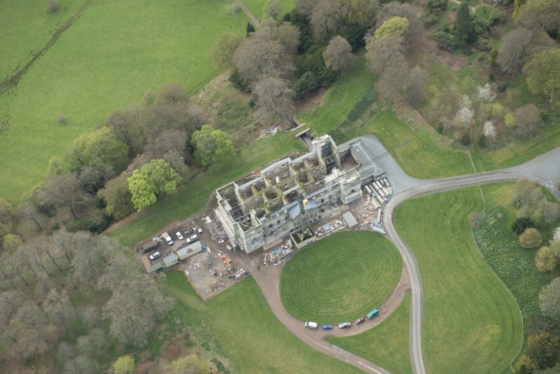 Oblique aerial view of Penicuik House, looking WSW.