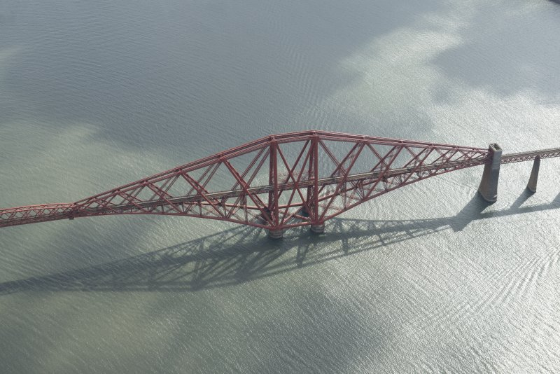 Oblique aerial view of the Forth Bridge, looking W.