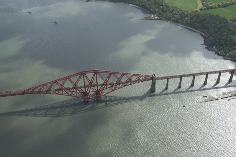 Oblique aerial view of the Forth Bridge, looking WSW.