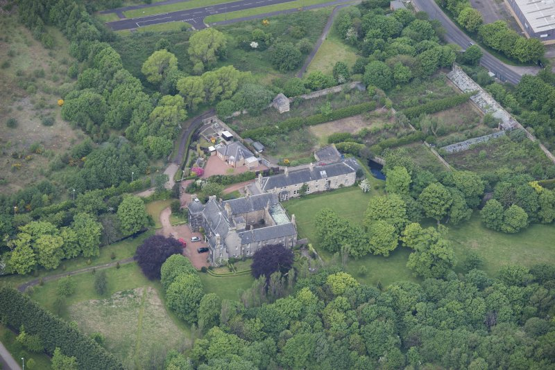 Oblique aerial view of Caroline Park House, looking W.