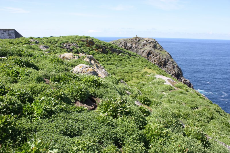 Flannan Isles lighthouse. View of the quarry immediately north of the lighthouse, facing west.