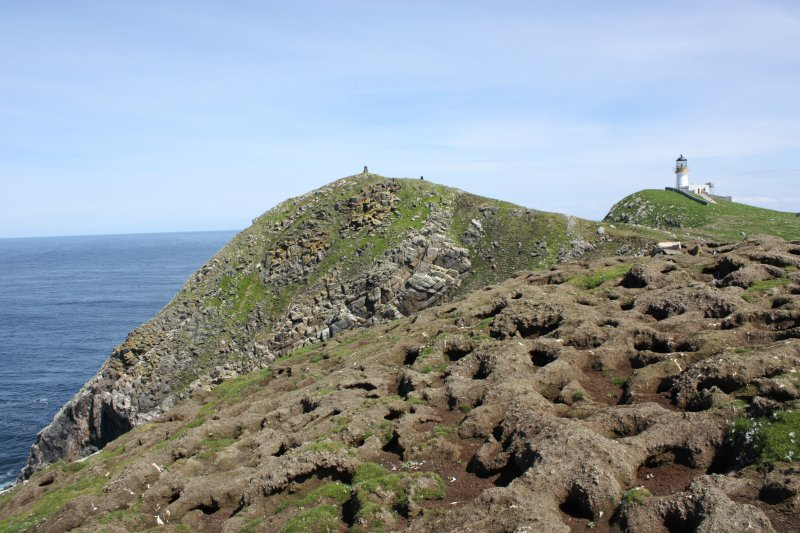 General view over the puffin burrows on Tom na Geodha to the cairn on Meall Meadhonach.
