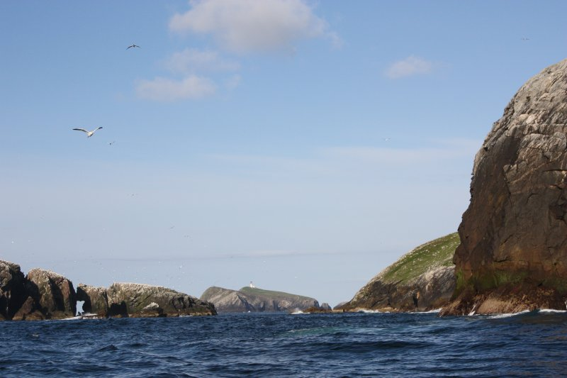 General view of Eilean Mor and lighthouse, through the gap between Roaream and Eilean a'Ghobha, looking E.
