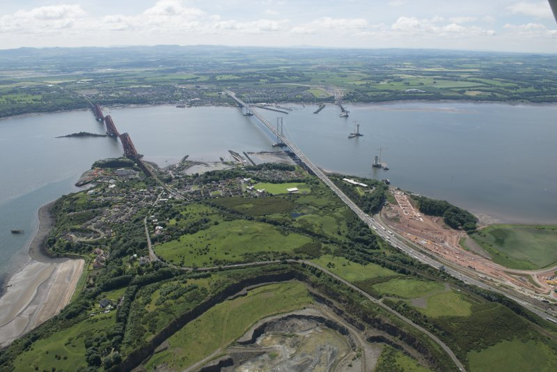 General oblique aerial view of the Upper Firth of Forth with The Queensferry Crossing construction, The Forth Road bridge and Forth bridge, looking SSW.