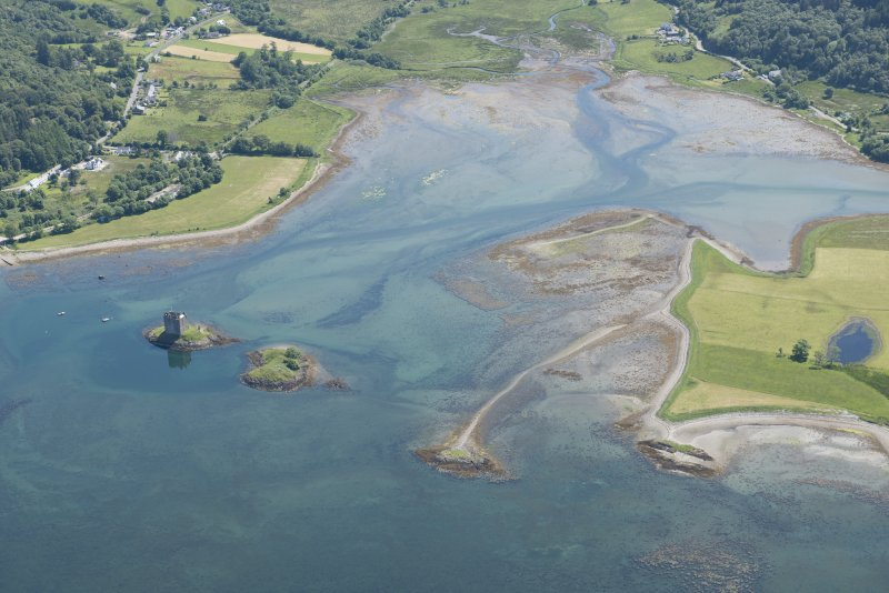Oblique aerial view of Castle Stalker and the kelp grids, looking ESE.