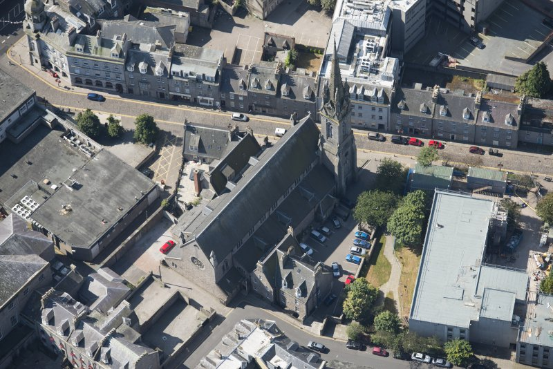 Oblique aerial view of St Mary's Roman Catholic Cathedral, looking SW.