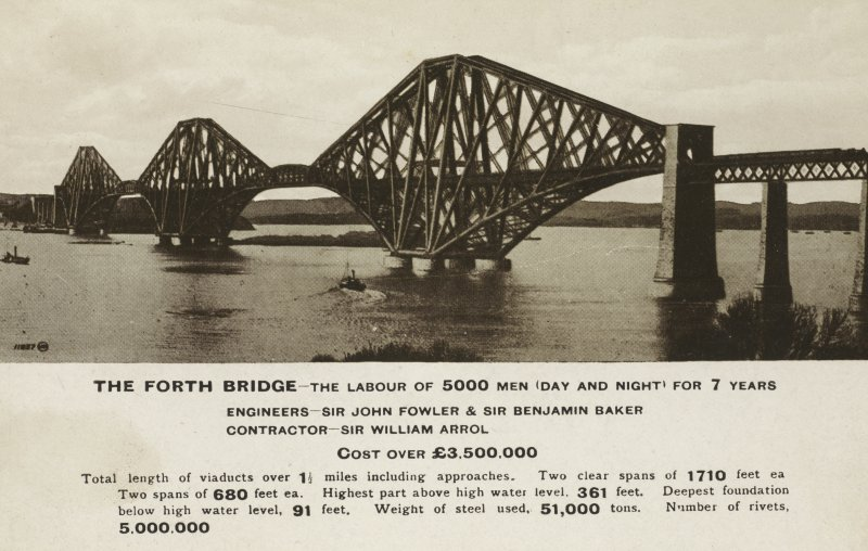 Forth Rail Bridge postcard with facts about the bridge.
