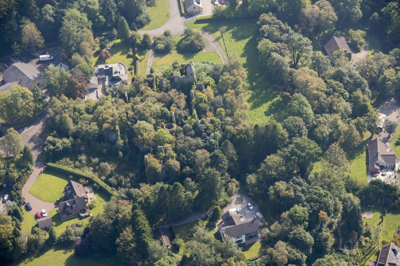 Oblique aerial view of Buchanan Castle, looking ESE.