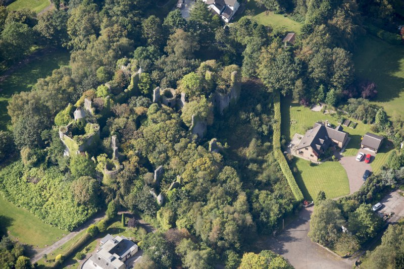 Oblique aerial view of Buchanan Castle, looking WSW.
