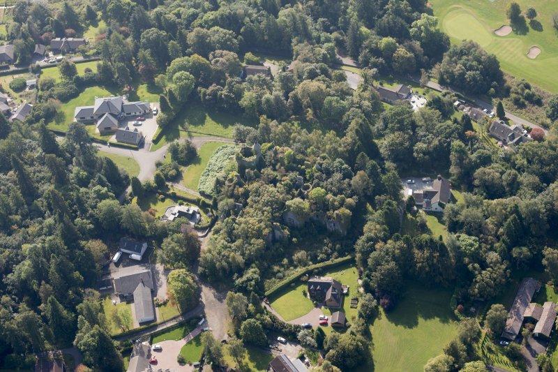 Oblique aerial view of Buchanan Castle, looking S.