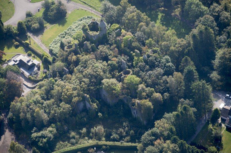 Oblique aerial view of Buchanan Castle, looking SSE.