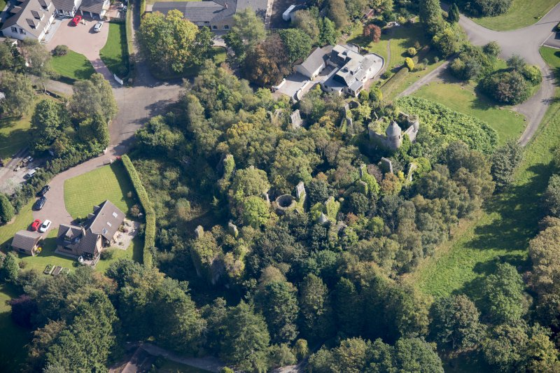 Oblique aerial view of Buchanan Castle, looking ENE.
