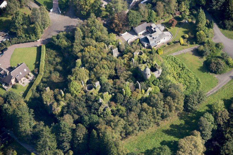 Oblique aerial view of Buchanan Castle, looking NE.