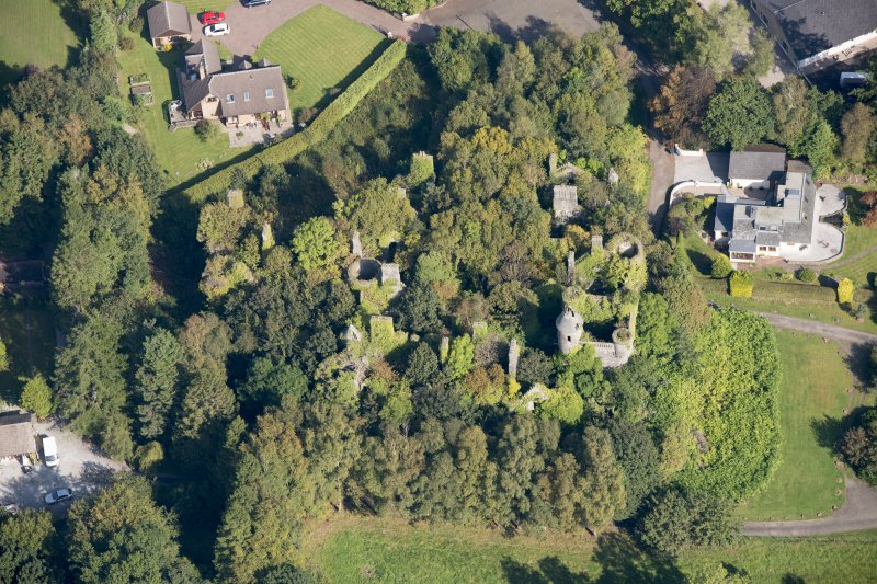 Oblique aerial view of Buchanan Castle, looking N.