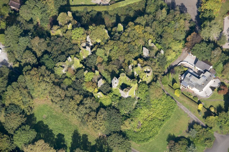 Oblique aerial view of Buchanan Castle, looking NNW.