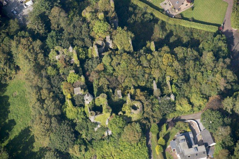 Oblique aerial view of Buchanan Castle, looking NW.