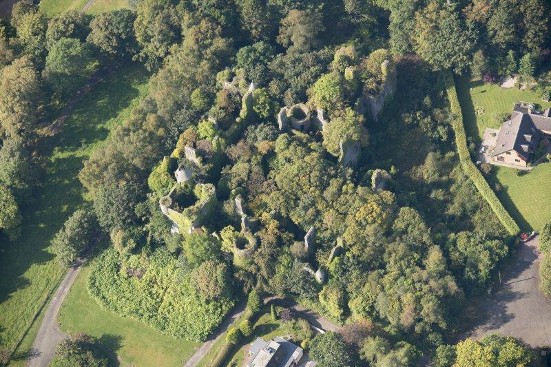 Oblique aerial view of Buchanan Castle, looking W.