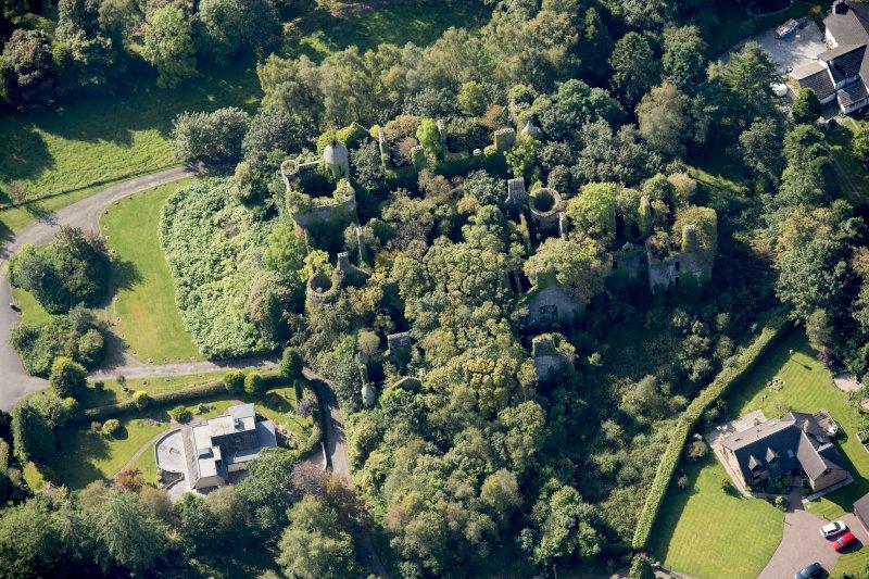 Oblique aerial view of Buchanan Castle, looking SW.