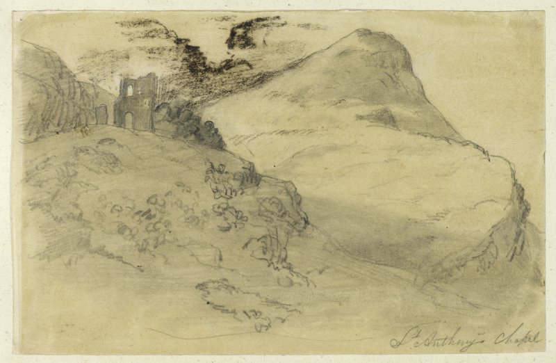 Drawing of St Anthony's Chapel in its surroundings.