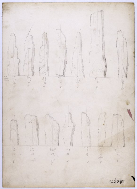 'Profiles of Callernish Stones by Mr H Sharbau'.