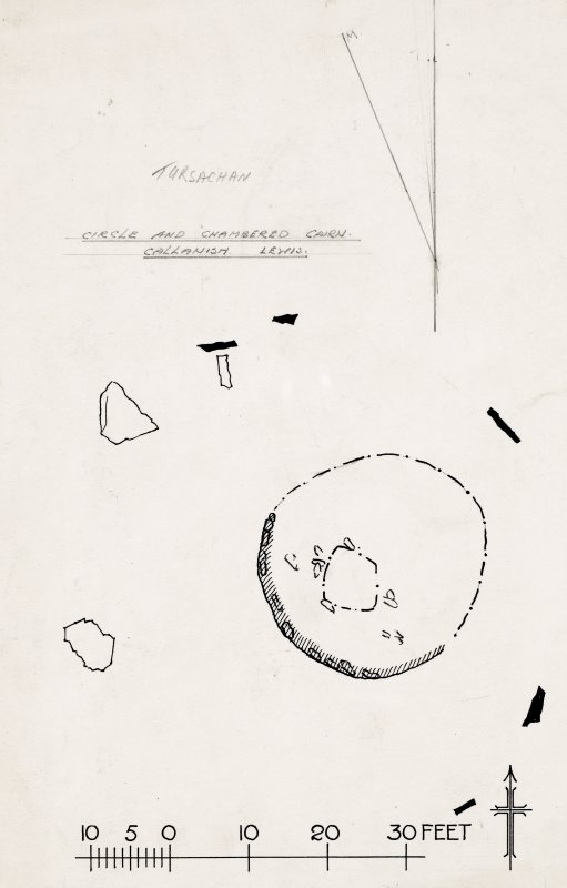 Publication drawing; plan of cairn and stone circle.