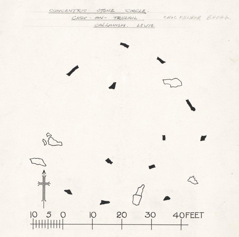 Publication drawing; Stone circle, 'Tursachan', Cnoc Filibhir Bheag.
