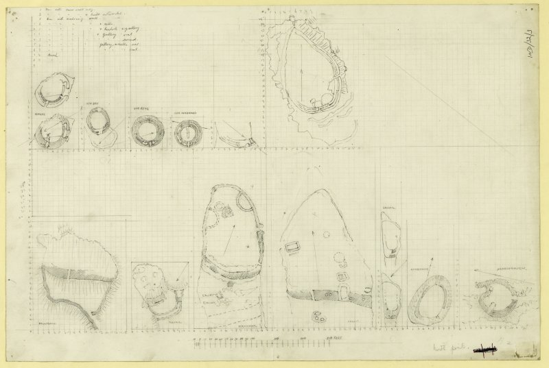Preparatory drawing; typological series of galleried structures, drawn to a uniform scale.