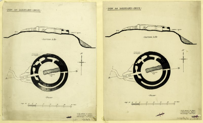 Two copies of the inked plan and section of 'Dun an Iardhard, Skye' prepared by HM Office of Works, Edinburgh.