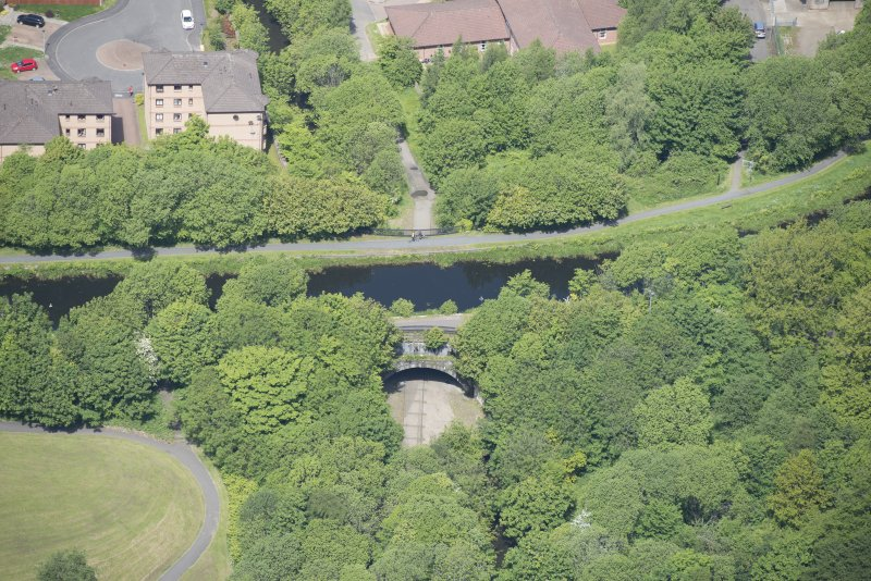 Oblique aerial view of the Luggie Water Aqueduct, looking NW.