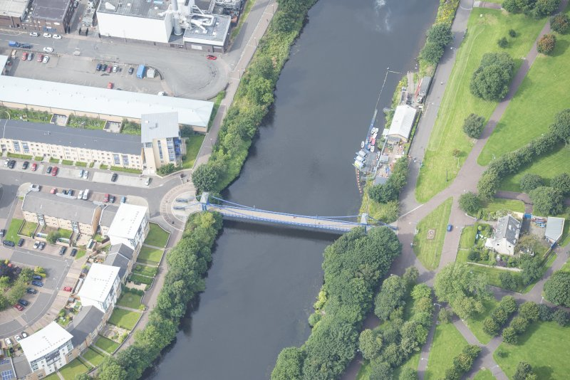 Oblique aerial view of St Andrew's Suspension Bridge, looking WNW.