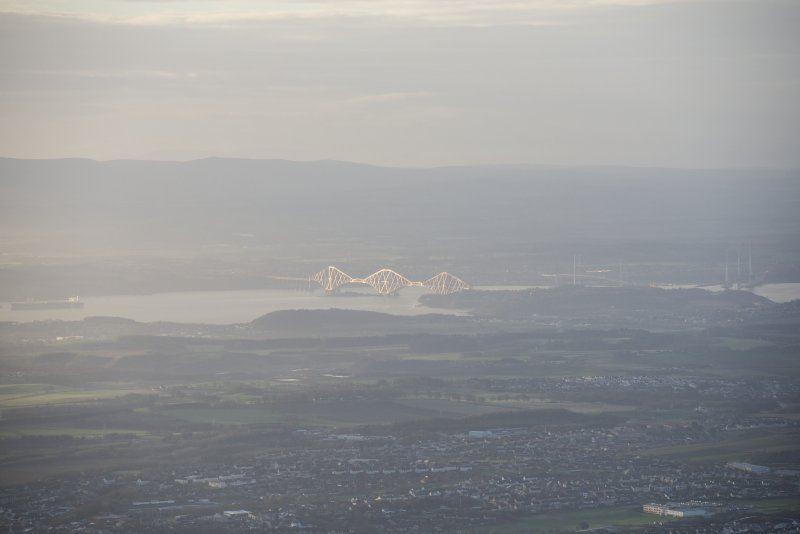 General oblique aerial view of the bridges, looking SE.