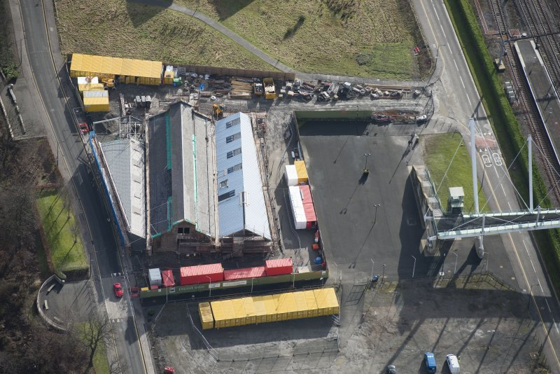 Oblique aerial view of The Engine Shed under construction, looking SSE.