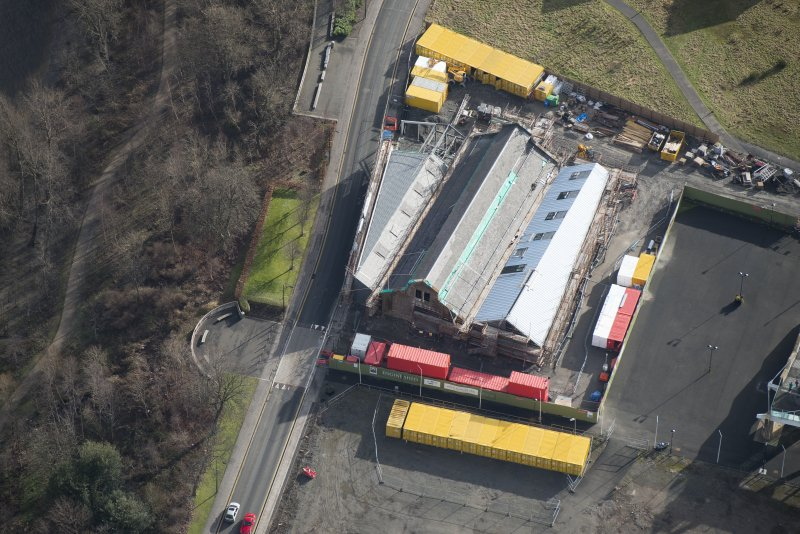Oblique aerial view of The Engine Shed under construction, looking SE.