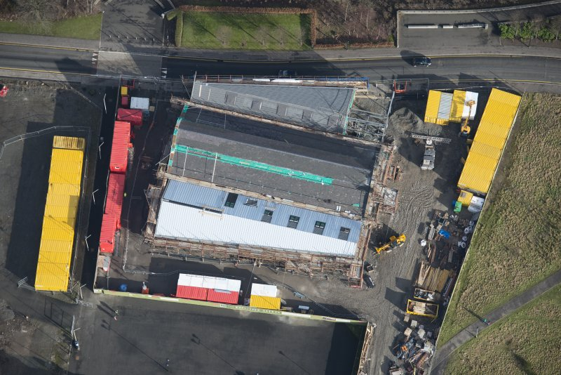 Oblique aerial view of The Engine Shed under construction, looking ENE.