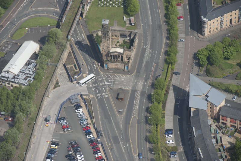 Oblique aerial view of Caledonia Road Presbyterian Church, looking NNE.