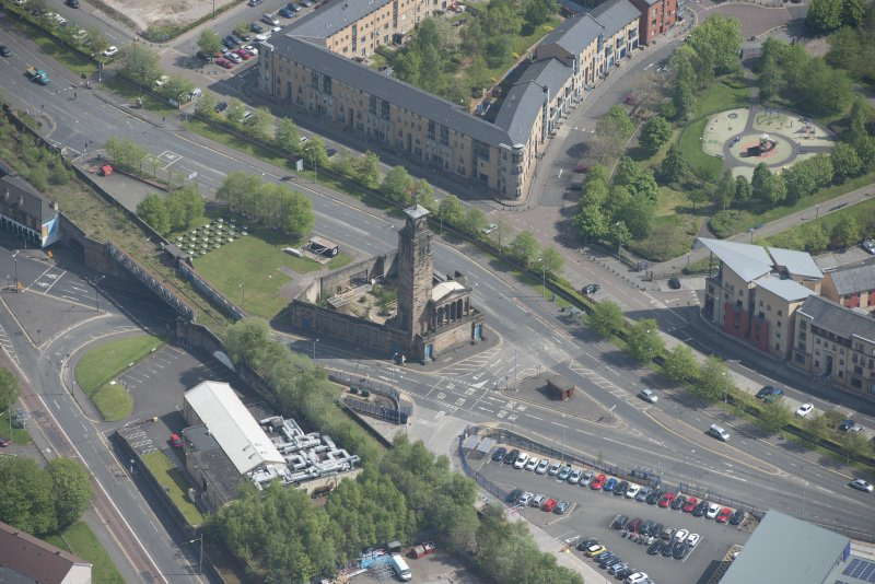 Oblique aerial view of Caledonia Road Presbyterian Church, looking ENE.