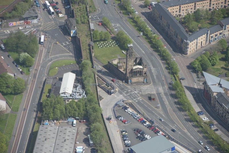 Oblique aerial view of Caledonia Road Presbyterian Church, looking NE.